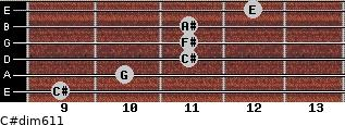 C#dim6/11 for guitar on frets 9, 10, 11, 11, 11, 12