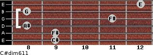 C#dim6/11 for guitar on frets 9, 9, 8, 11, 8, 12