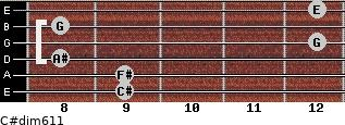 C#dim6/11 for guitar on frets 9, 9, 8, 12, 8, 12