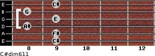 C#dim6/11 for guitar on frets 9, 9, 8, 9, 8, 9