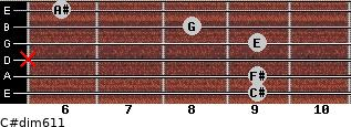 C#dim6/11 for guitar on frets 9, 9, x, 9, 8, 6
