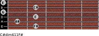 C#dim6/11/F# for guitar on frets 2, 1, 2, 0, 2, 0