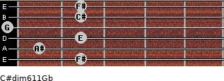 C#dim6/11/Gb for guitar on frets 2, 1, 2, 0, 2, 2