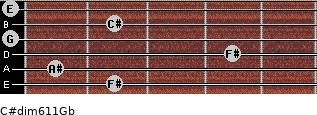 C#dim6/11/Gb for guitar on frets 2, 1, 4, 0, 2, 0
