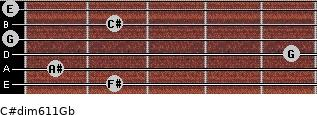 C#dim6/11/Gb for guitar on frets 2, 1, 5, 0, 2, 0