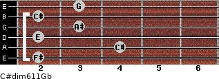 C#dim6/11/Gb for guitar on frets 2, 4, 2, 3, 2, 3