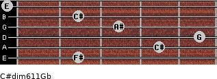 C#dim6/11/Gb for guitar on frets 2, 4, 5, 3, 2, 0