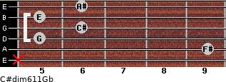C#dim6/11/Gb for guitar on frets x, 9, 5, 6, 5, 6