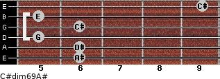 C#dim6/9/A# for guitar on frets 6, 6, 5, 6, 5, 9