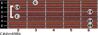 C#dim6/9/Bb for guitar on frets 6, 6, 2, 6, 2, 3