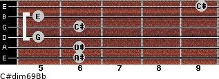 C#dim6/9/Bb for guitar on frets 6, 6, 5, 6, 5, 9