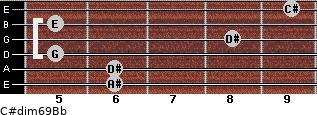 C#dim6/9/Bb for guitar on frets 6, 6, 5, 8, 5, 9