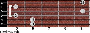 C#dim6/9/Bb for guitar on frets 6, 6, 5, 9, 5, 9