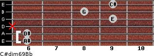 C#dim6/9/Bb for guitar on frets 6, 6, x, 9, 8, 9