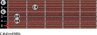C#dim6/9/Bb for guitar on frets x, 1, 1, 0, 2, 0