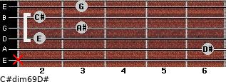 C#dim6/9/D# for guitar on frets x, 6, 2, 3, 2, 3