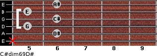 C#dim6/9/D# for guitar on frets x, 6, 5, 6, 5, 6