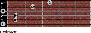C#dim6/9/E for guitar on frets 0, 1, 1, 0, 2, 3