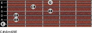 C#dim6/9/E for guitar on frets 0, 1, 1, 3, 2, 3