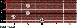 C#dim6/A# for guitar on frets 6, 4, 5, x, 5, x