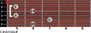 C#dim6/A# for guitar on frets 6, 7, 5, 6, 5, x