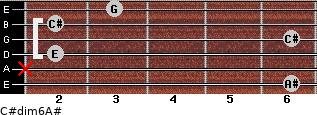 C#dim6/A# for guitar on frets 6, x, 2, 6, 2, 3
