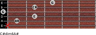 C#dim6/A# for guitar on frets x, 1, 2, 0, 2, 3