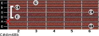 C#dim6/Bb for guitar on frets 6, x, 2, 6, 2, 3