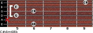 C#dim6/Bb for guitar on frets 6, x, 5, 6, 5, 9