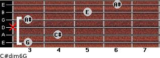 C#dim6/G for guitar on frets 3, 4, x, 3, 5, 6