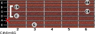 C#dim6/G for guitar on frets 3, x, 2, 6, 2, 6