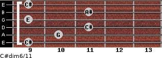 C#dim6/11 for guitar on frets 9, 10, 11, 9, 11, 9