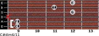C#dim6/11 for guitar on frets 9, 9, x, 12, 11, 12