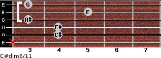 C#dim6/11 for guitar on frets x, 4, 4, 3, 5, 3
