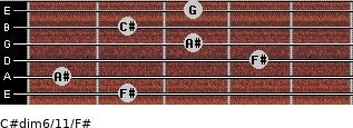 C#dim6/11/F# for guitar on frets 2, 1, 4, 3, 2, 3