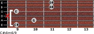 C#dim6/9 for guitar on frets 9, 10, x, 9, 11, 11