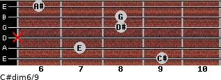 C#dim6/9 for guitar on frets 9, 7, x, 8, 8, 6