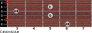 C#dim6/A# for guitar on frets 6, x, 5, 3, 5, x