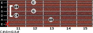 C#dim6/A# for guitar on frets x, 13, 11, 12, 11, 12