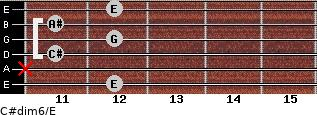 C#dim6/E for guitar on frets 12, x, 11, 12, 11, 12