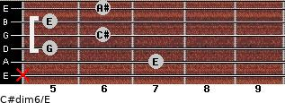 C#dim6/E for guitar on frets x, 7, 5, 6, 5, 6
