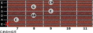 C#dim6/E for guitar on frets x, 7, 8, 9, 8, 9