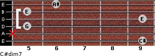 C#dim7 for guitar on frets 9, x, 5, 9, 5, 6