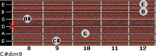 C#dim9 for guitar on frets 9, 10, x, 8, 12, 12