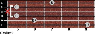 C#dim9 for guitar on frets 9, 6, 5, x, 5, 7