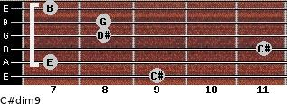 C#dim9 for guitar on frets 9, 7, 11, 8, 8, 7