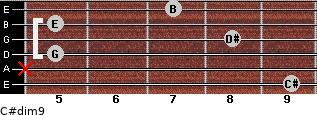 C#dim9 for guitar on frets 9, x, 5, 8, 5, 7