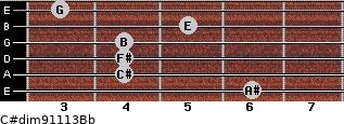 C#dim9/11/13/Bb for guitar on frets 6, 4, 4, 4, 5, 3
