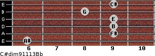 C#dim9/11/13/Bb for guitar on frets 6, 9, 9, 9, 8, 9