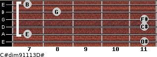 C#dim9/11/13/D# for guitar on frets 11, 7, 11, 11, 8, 7